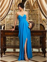 best ocean pictures - New Arrival Discount Best Sale Prom Dresses Elegant Ocean Blue Sheath Column Sweetheart Criss Cross Floor length Chiffon Evening Dresses