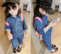 Wholesale New Arrival Girl s Autumn Denim Jumpsuit Fashion Denim Pants cm Kid s Clothes Girl s Overalls