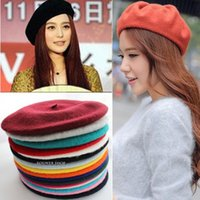 Wholesale 1PC New Fashion Colors Warm Wool Winter Women Beret French Artist Beanie Hat Ski Cap For Sweet Girl Drop