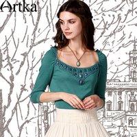 artka beads - Artka Women s Summer Beads Square Collar Female Three Quarter Sleeve Sweater Pullover YB18051C