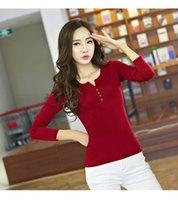 add tee shirt - Plus Size Women Cotton Tees Add Wool V Neck Base Shirt Fashion Sliming Outside Tops