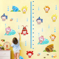 Wholesale Underwater World height stickers removable marine animals kindergarten children s room bedroom wall stickers measuring height