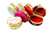 Jewelry Boxes Earring silk Wholesale Cheap Wholesale32pcs Chinese Handmade Vintage Silk Jewelry Box & Gift Box With Mirror