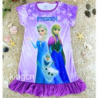 Summer cotton dress materials - Hot Sell Elsa Anna Princess Dress New Arrival Short Sleeve Dress material cotton Special offer beautiful princess dress children wear