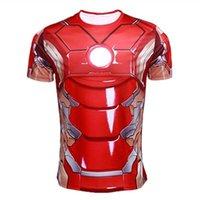under-armour - Marvel Superhero Punisher Captain America T shirt Men Armour Short Sleeve Costume Under Outdoor Gym Sport Fitness tshirt homme