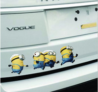 Wholesale 2016 Hot Selling Cute Despicable Me Minions Car stickers Cartoon Minion Car Decals for Car Accessories A033