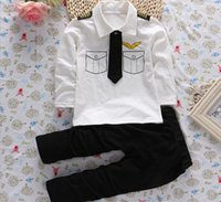 airline t shirts - 2016 New Baby Boy Clothing Sets Airline Captain Tie Suit Toddler Boys Long Sleeve Cotton T shirt Pants Kids Outfits Y D112
