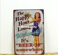 Wholesale HAPPY HOUR LOUNGE Metal Tin Signs Retro Metal Vintage Antique Sign Home Decor Club Bar Pub Cafe SE15