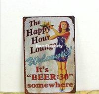 antique lounge - HAPPY HOUR LOUNGE Metal Tin Signs Retro Metal Vintage Antique Sign Home Decor Club Bar Pub Cafe SE15