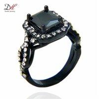 turkish - Turkish Gold Jewelry Black Gold Rings AAA Zircon KT White Stone Women Jewelry Engagement Rings Mens Wedding Jewelry