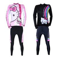 Wholesale 2014 New Hot Pink Black White Hello Kitty Cycling Jersey Set Bicycle Shirt Road Bike Jersey Women Long Sleeve In Stock