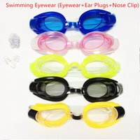 Wholesale New Fashion Men Women Children Outdoor Swim Pool Adjustable Swimming Glasses Eyeglasses Goggles Eyewear Ear Plugs Nose Clip