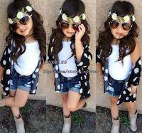 jeans - Child Suit Kids Sets Children Clothes Kids Clothing Girl Dress Flower Coat White Tank Tops Denim Jeans Children Set Kids Suit Outfits L43966