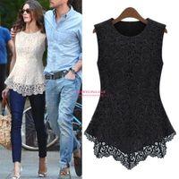 white blouses - 2015 New Arrival Black WHite Fashion Sleeveless Lace Chiffon Blouse A Line Women Short Blouses Shirts Hot Sales OXL51802