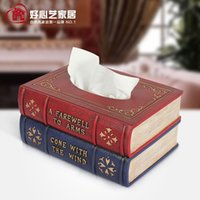 Wholesale European and American minimalist creative books towel tube tissue box tray pumping retro fake book living room toilet toilet