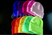 Wholesale Free DHL LED Winter Beanie Fashion LED Glowing Knitted Caps Glowing Hat LED Glow Knitting Hat