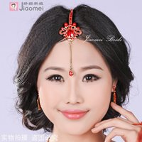 Wholesale Charming red imitation diamond bride princess red wedding accessories dance hair accessory