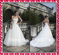 church dresses - Latest China Church Wedding Gown A Line Sweetheart Court Train Applique Tulle Wedding Dress Wedding Dresses Custom Made
