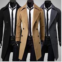 mens trench coats - 2015 New Brand Winter mens long pea coat Men s wool Coat Turn down Collar Double Breasted men trench coat MY