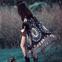Wholesale Summer Gypsy Ethnic Style Retro Fringes Tassel Long Cardigans Kimono Cover Ups Tribal Prints Boho Chiffon Shawl A1506030