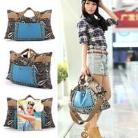 Shoulder Bags big leather hobo bags - Hot Selling Korean Lady Women Shoulder Bag New Hobo Satchel PU Leather Canvas Vintage Rivet handbag Big bag