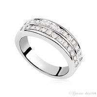wedding rings - 18K white gold gemstone rings good double Austrian crystal fashion glamor beautiful female wedding wedding ring jewelry