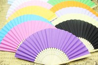 paper fans - R H hot sale women s paper bamboo folding fans solid colors inches solid colors drop shipping bridal fans