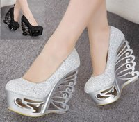 Wholesale Silver Bridal Shoes Wedges - Free DHL Glitter Strange Heel Bridal Wedding Shoes Prom Gown Dress Shoes 15CM size 34 to 39