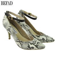 Wholesale Serpentine Leather Dress Shoes Pointed Totes Spring Dress Shoes with Buckle Comfortable Dress Shoes High Heel for