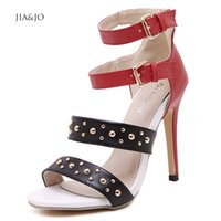 stripper shoes - New Sandales Femme Sexy Talon Stripper Shoes Women Summer Sandals High Heels Gladiators Rivets And Studs Mix Color