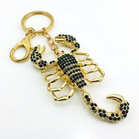 Wholesale High Quality Fashion Plated Gold Key Rings Hollowed Black Rhinestone Scorpion Animals Charms Lobster Clasp Keychain Jewelry