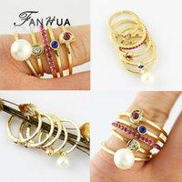Wholesale US Stock Rhinestone Mood Knuckle Wedding Rings Set Gold Color New Fashion Designer Joyas for Women