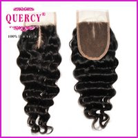 Wholesale Brazilian lace closure A virgin remy human hair silk closure inch deep wave handtied top closure inch dyeable Quercy Closure
