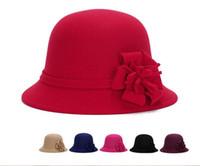Wholesale 2016 elegant hats womens vintage bowler spring winter trilby fashion lady fedoras flower felt cap wide brim hats for women sun caps