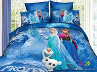 Wholesale 2016 New And Hot D Printed FROZEN Cartoon Kid Bedding Sets for m Single Children Bed Duvet Cover Sheet Pillow Case Double Queen