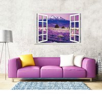 Wholesale 3D Window Purple Lavender Wall Stickers for Home DIY Decal Mural Wallpaper Living Room Bedroom