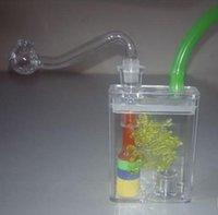 acrylic lamp box - 1Pcs Flash belt lamp dual acrylic water pot hookah water smoking pipe boxed