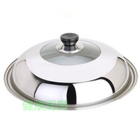 Wholesale Super affordable full scale cm stainless steel wok lid lid visualization can stand high grade thick iron lid