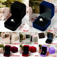 Wholesale New Arrivals Jewelry Boxes Earrings Ring Packaging Display Storage Case Velvet Square Gift Colors IX201