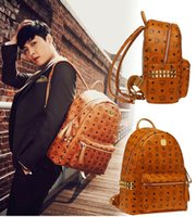 mcm bag - 2016 korean mcm leather backpack for Men Women sports backpack bags Punk Rivets Mcm backpacks Middle Small large Size for choice