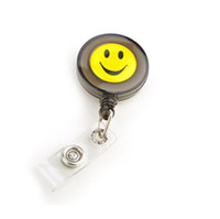 Wholesale Smiling Face ID Holder Name Tag Card key Badge Holder Round Translucent Plastic Clip On Office School Supplies