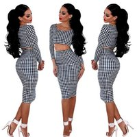 houndstooth dress - 2015 vestido New arrive bandage Dress Sexy Long sleeved Houndstooth Print dress Women Two piece Slim Bodycon Party Club Dresses