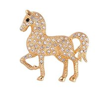 Wholesale 2016 New Clear Rhinestone Horse Brooch Pin Women Corsage Brooches