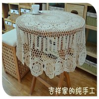 Wholesale 2016 ZAKKA cm round fashion novelty home decoration white table cover with lace flower for wedding decoration for sale
