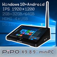 Wholesale 2015 New Arrival Original quot PIPO X9 Smart TV BOX Dual OS Windows Android Intel Z3736F Quad Core GB GB GB Mini PC