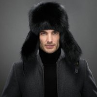 Wholesale Feading animal fur sheep leather bomber hat Real raccoon flix cold resistance headgear Fox skin warm head wear Beanies