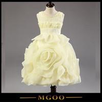beautiful hand embroidery - MGOO Romantic Beautiful Big Flowers Girl Dresses Child Fanny Cream Yellow Dress For Baby Girl Infant Tutu Dress