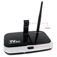Wholesale CS918S OTT Android TV Box Quad Core ROM GB Mini PC Video Conference Mail HDMI Video Camera USB Interface Mic IR Remote Control D5146A