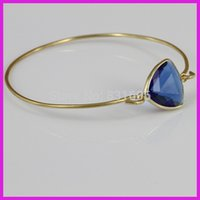 aquamarine powers - Natural Aquamarine Crystal Quartz Glass Bead Bangle Gold Chain Jewelry Charm Bangle Power Bracelet For Girl Gifts