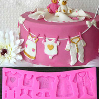 Wholesale Silicone Cake Moulds Wholesale - Baby Cloth Shape 3D Silicone Fondant Mould Cake Decorating Tool Cupcake Mold